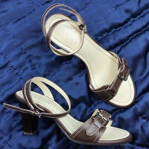 Franco Sarto Brown Leather Sandals w/Buckle Detail